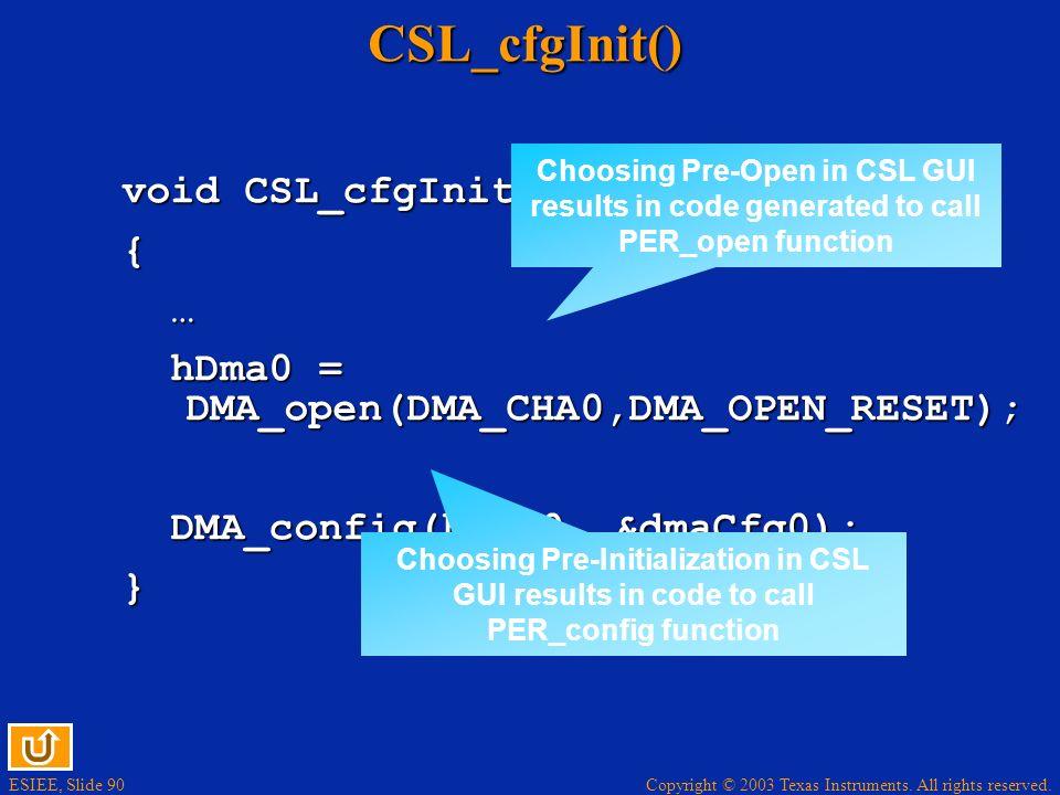 CSL_cfgInit() void CSL_cfgInit() { …