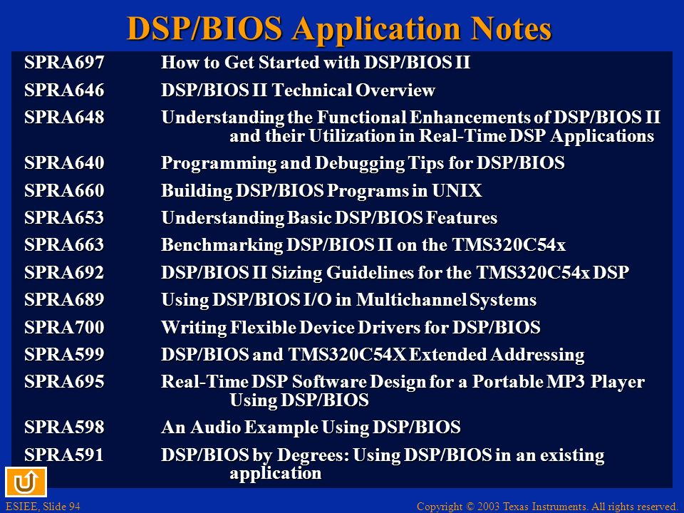 DSP/BIOS Application Notes