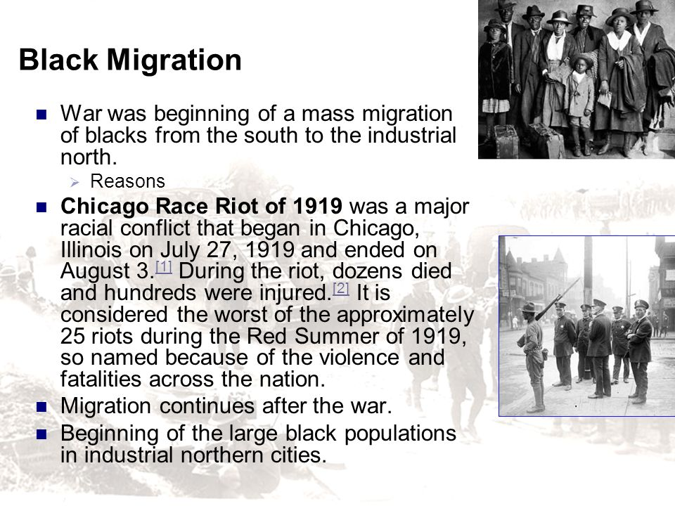 Black Migration War was beginning of a mass migration of blacks from the south to the industrial north.