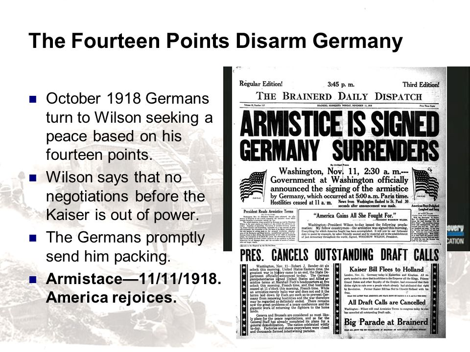 The Fourteen Points Disarm Germany