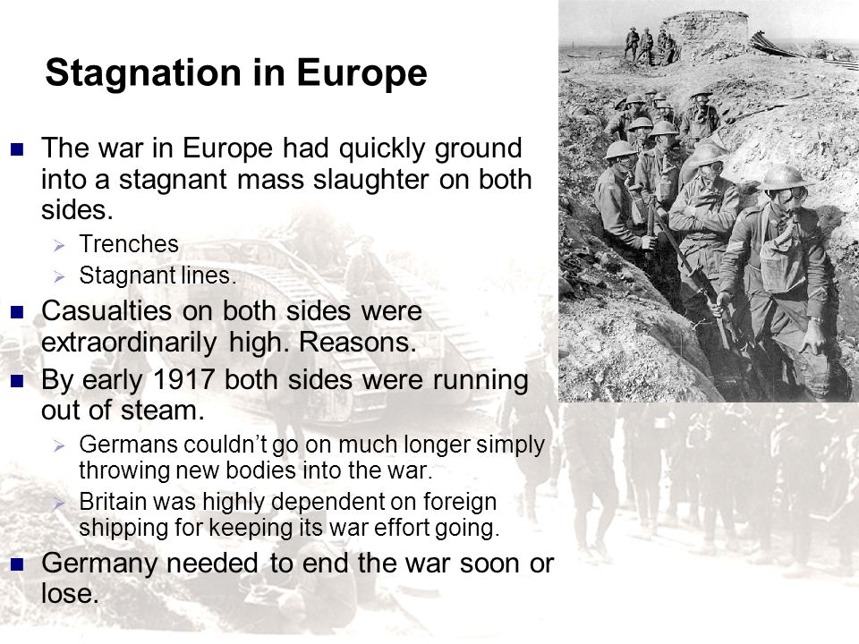 Stagnation in Europe The war in Europe had quickly ground into a stagnant mass slaughter on both sides.