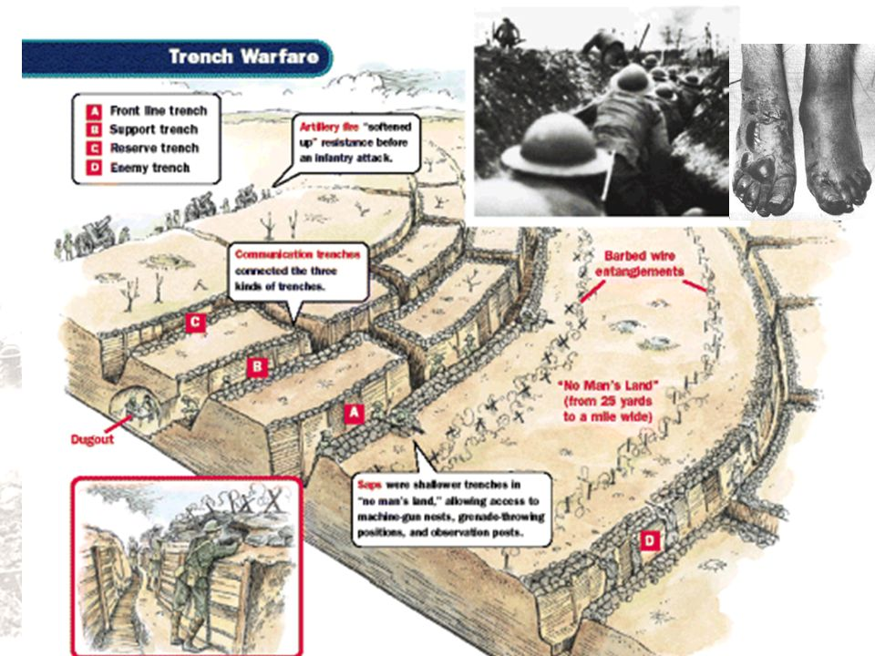 parapet: the front of the trench, usually about ten feet high, covered at the top with two to three feet of sandbags
