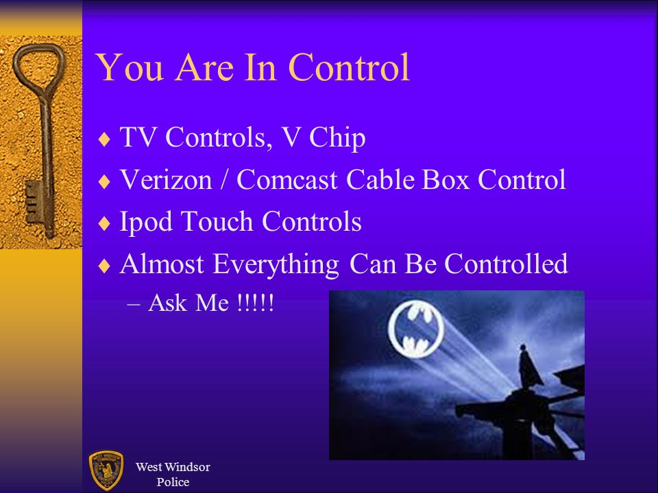 You Are In Control TV Controls, V Chip