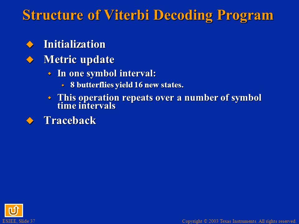 Structure of Viterbi Decoding Program