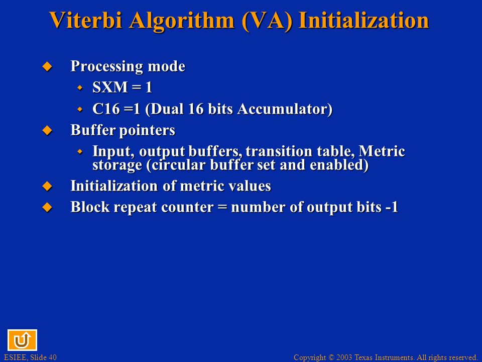 Viterbi Algorithm (VA) Initialization