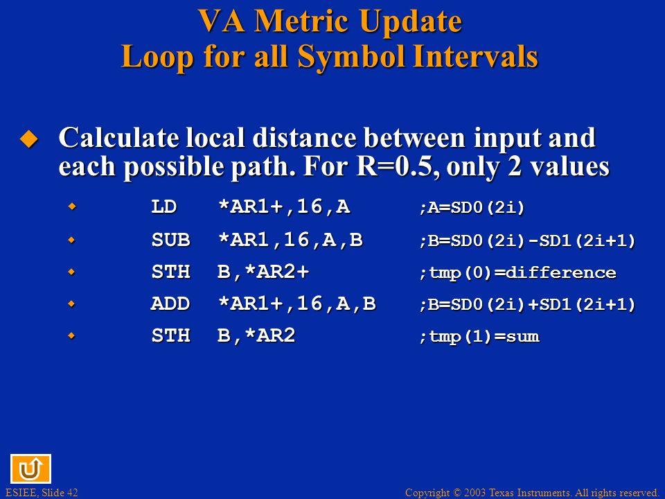 VA Metric Update Loop for all Symbol Intervals