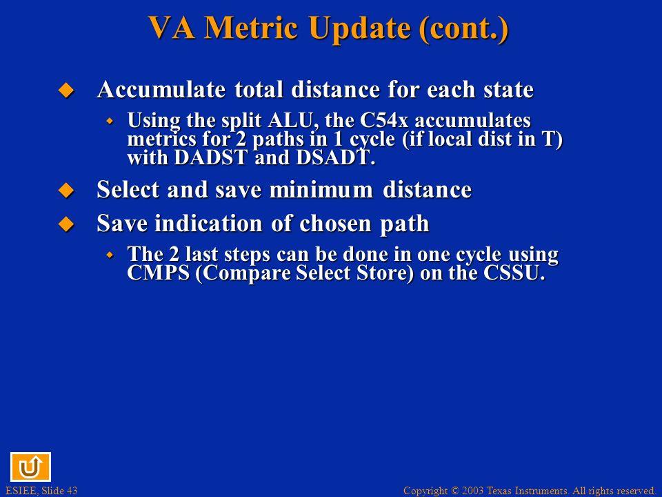 VA Metric Update (cont.)
