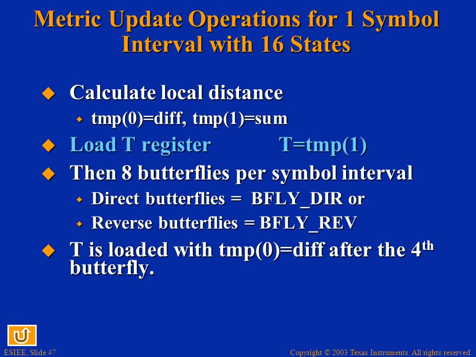 Metric Update Operations for 1 Symbol Interval with 16 States