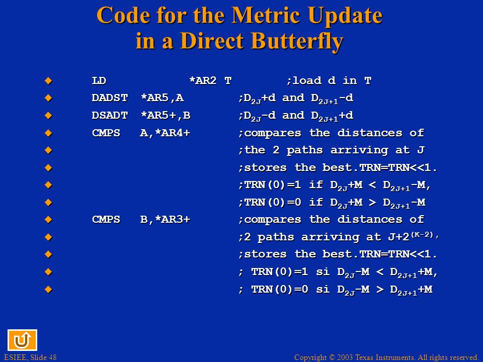 Code for the Metric Update in a Direct Butterfly