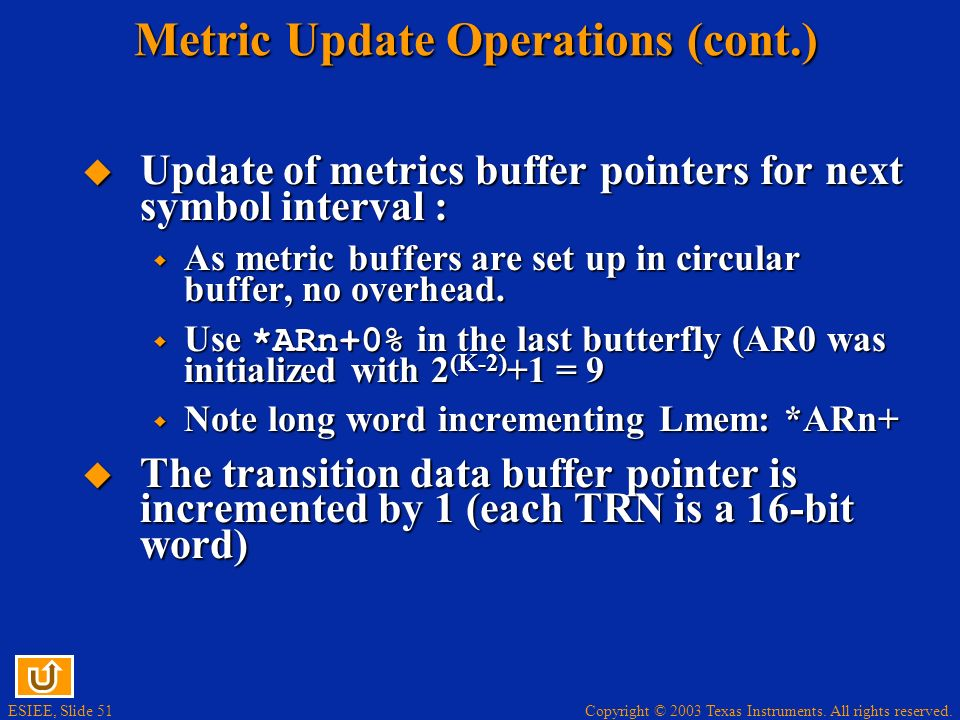 Metric Update Operations (cont.)