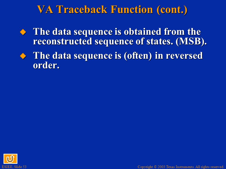 VA Traceback Function (cont.)
