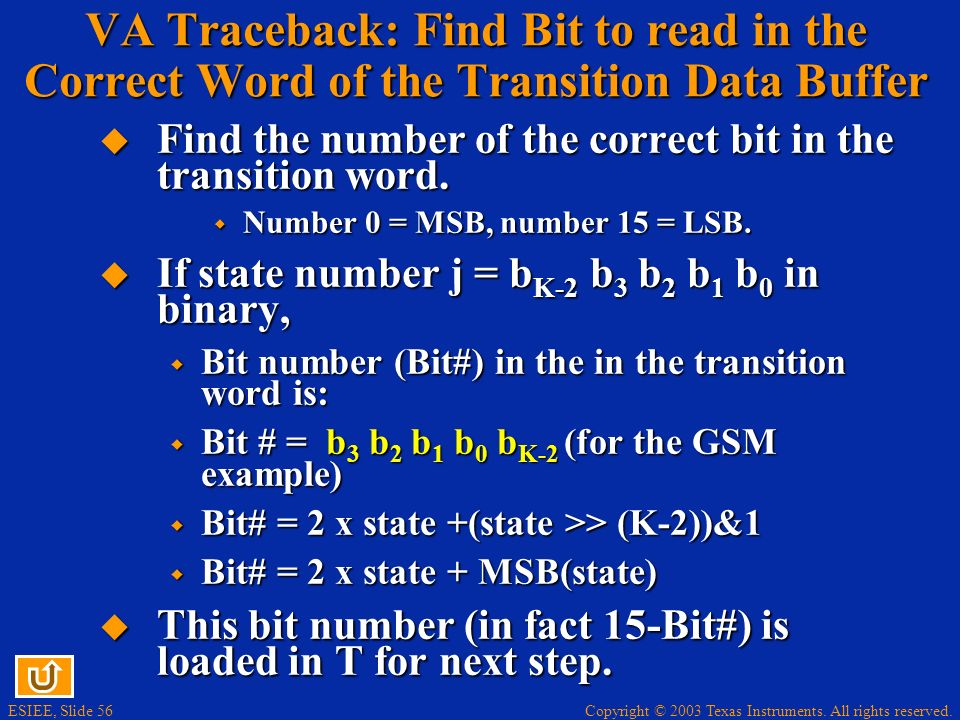 VA Traceback: Find Bit to read in the Correct Word of the Transition Data Buffer