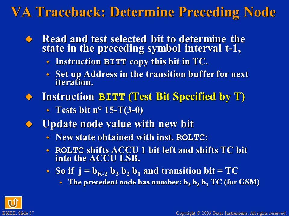 VA Traceback: Determine Preceding Node