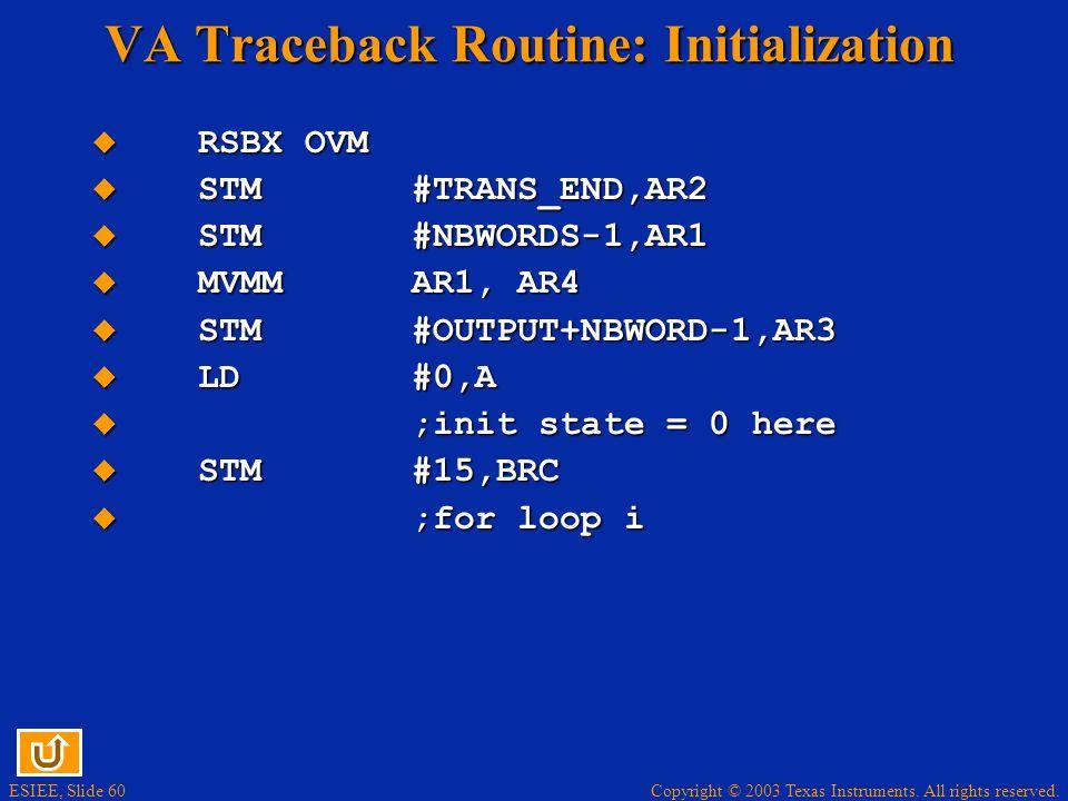 VA Traceback Routine: Initialization