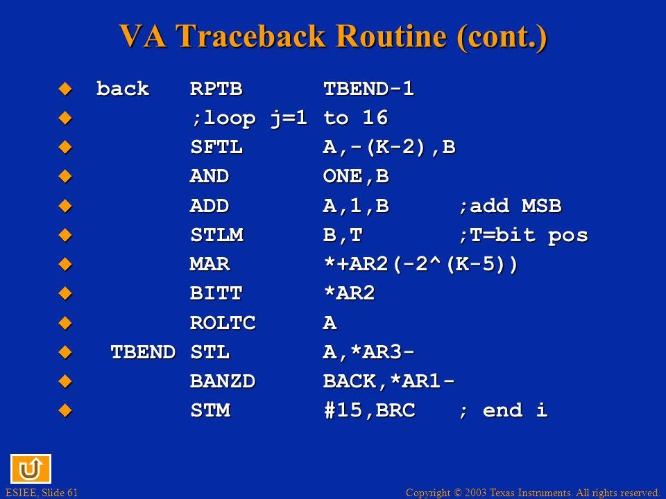 VA Traceback Routine (cont.)
