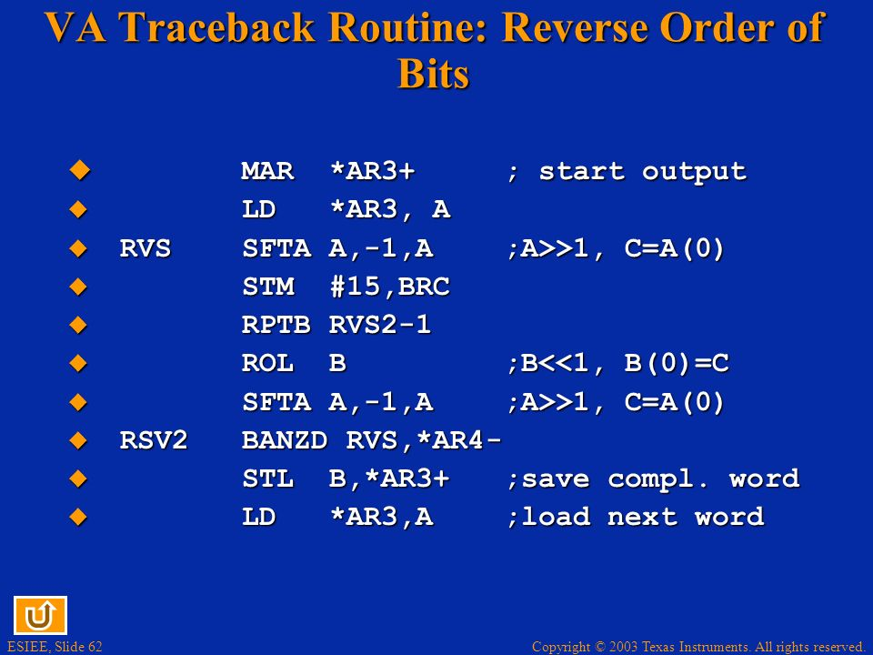 VA Traceback Routine: Reverse Order of Bits
