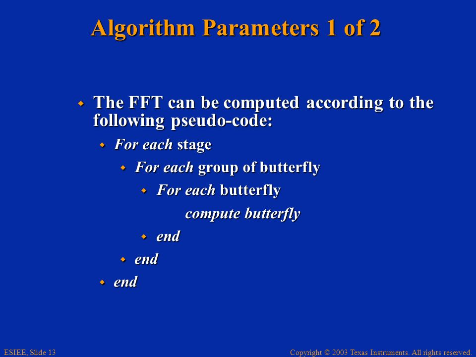 Algorithm Parameters 1 of 2