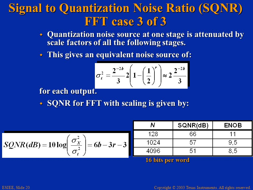 Signal to Quantization Noise Ratio (SQNR) FFT case 3 of 3