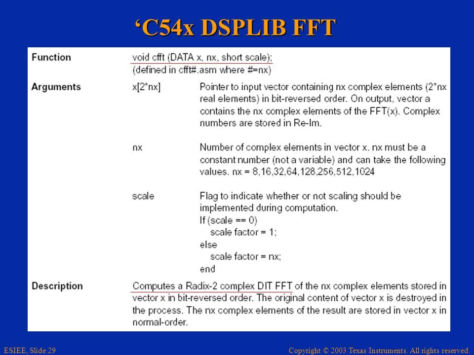 'C54x DSPLIB FFT
