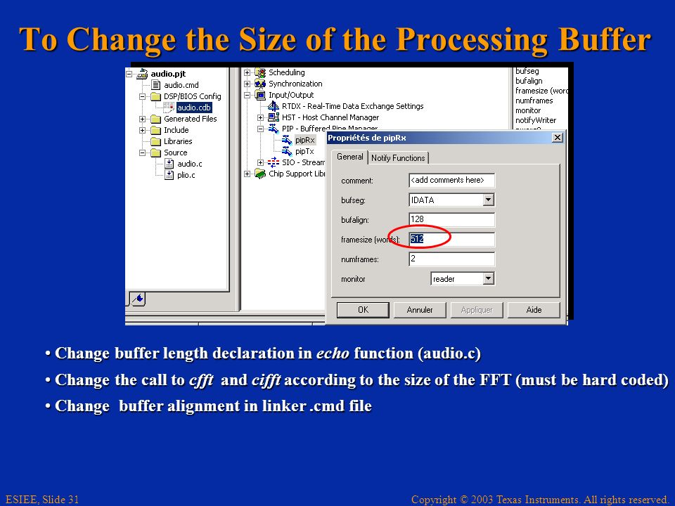 To Change the Size of the Processing Buffer