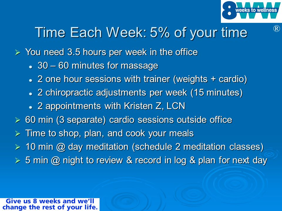 Time Each Week: 5% of your time