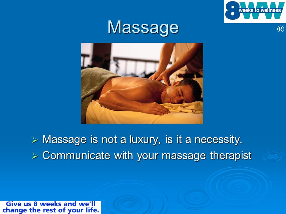 Massage Massage is not a luxury, is it a necessity.