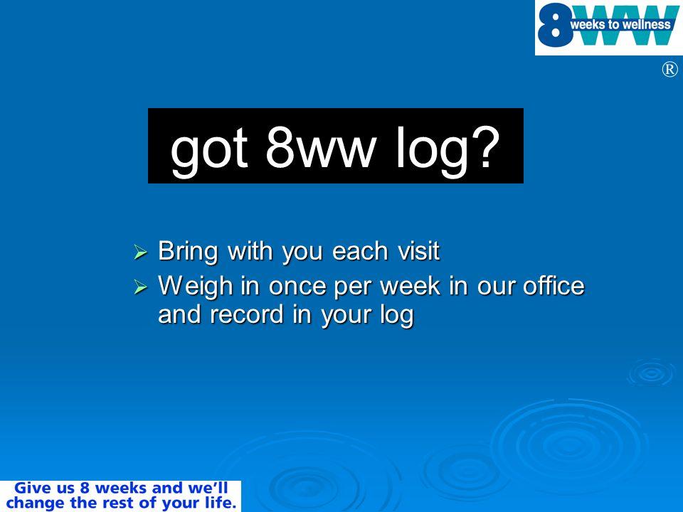 got 8ww log Bring with you each visit