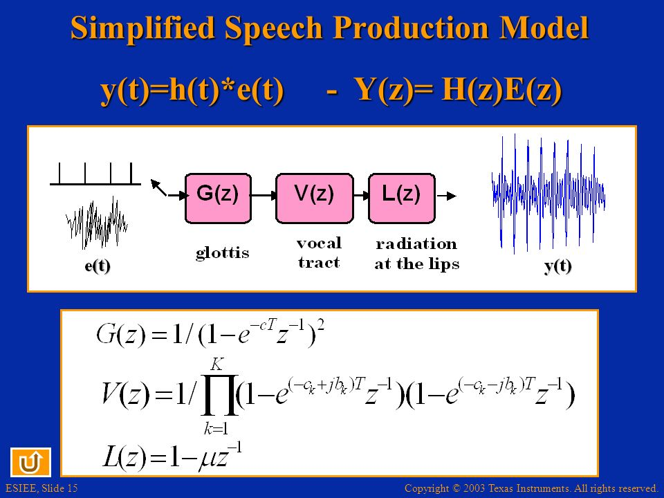 Simplified Speech Production Model