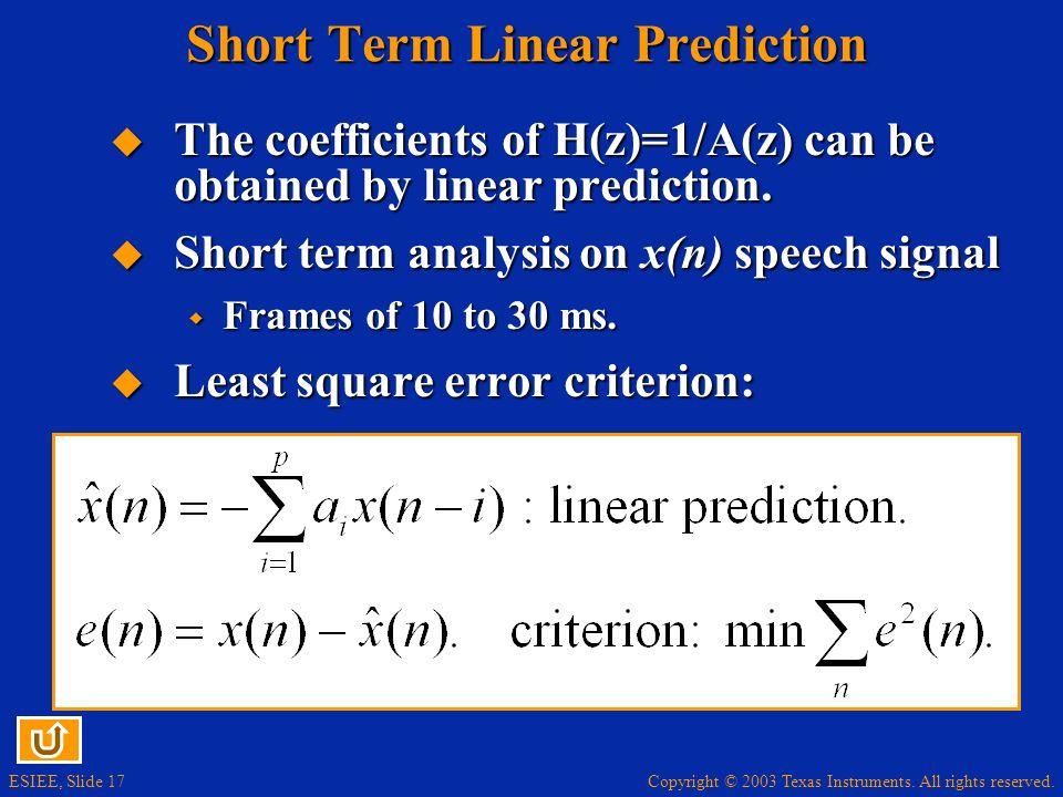 Short Term Linear Prediction