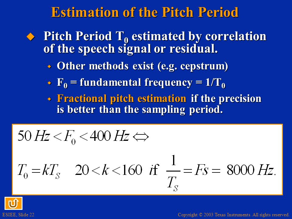 Estimation of the Pitch Period