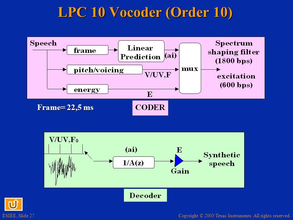 LPC 10 Vocoder (Order 10) Frame= 22,5 ms