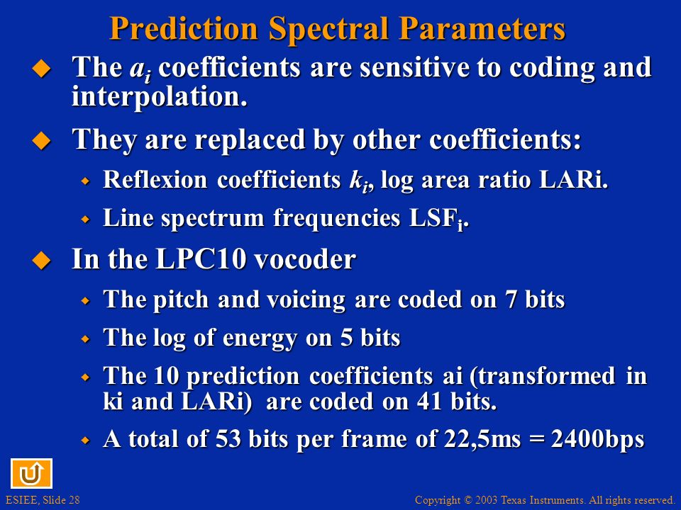 Prediction Spectral Parameters