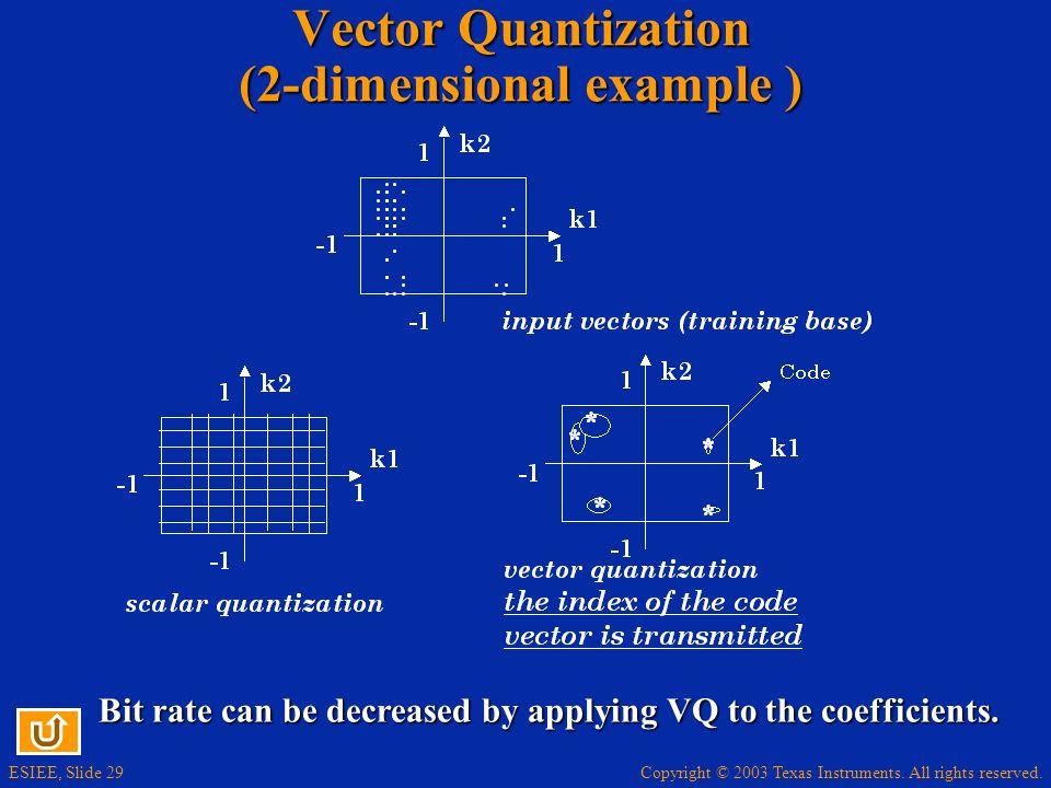 Vector Quantization (2-dimensional example )