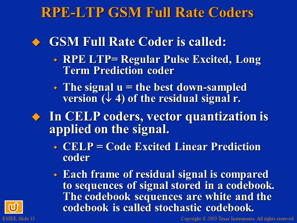 RPE-LTP GSM Full Rate Coders