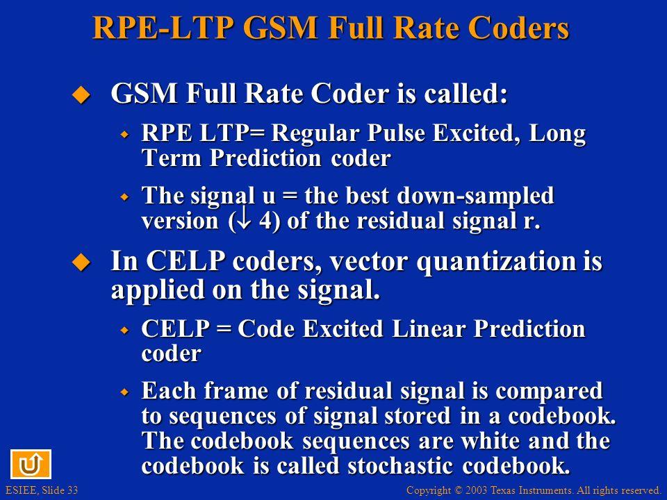 RPE-LTP GSM Full Rate Coders