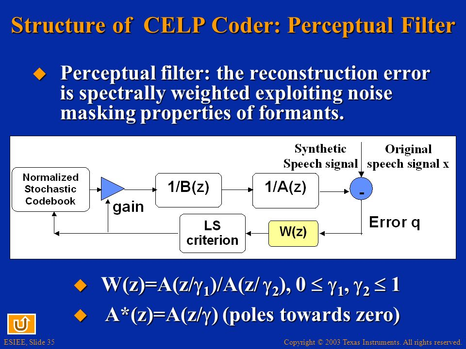 Structure of CELP Coder: Perceptual Filter