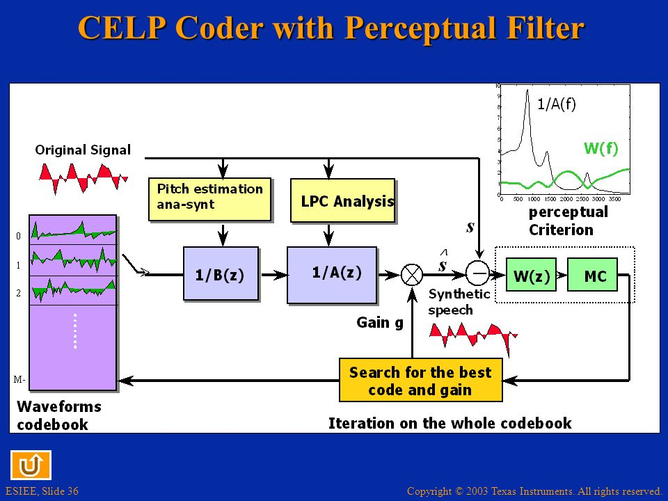 CELP Coder with Perceptual Filter