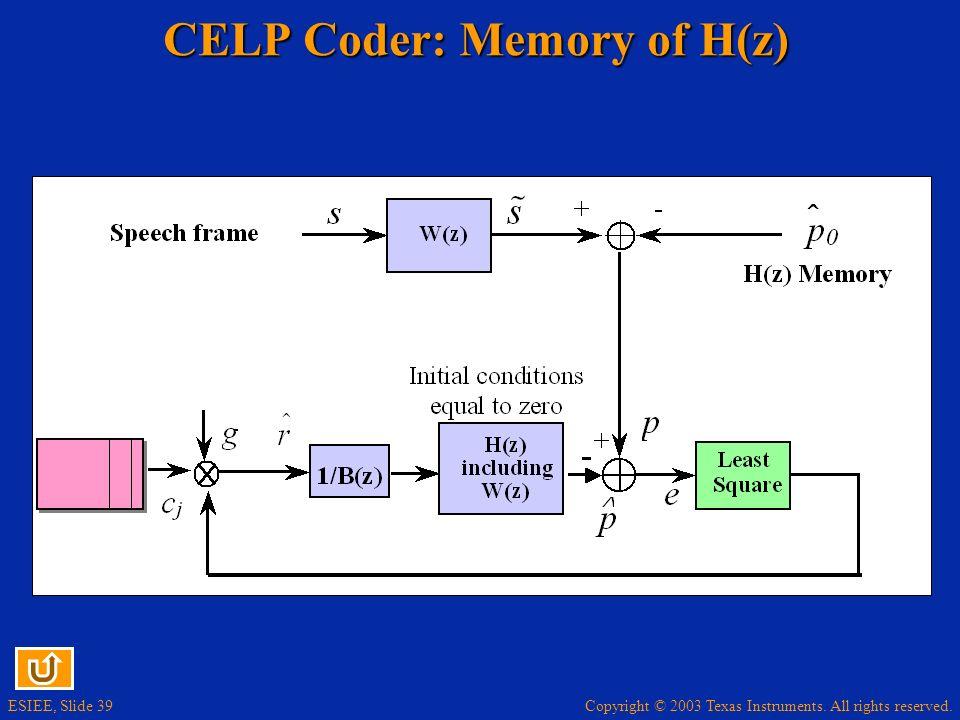 CELP Coder: Memory of H(z)