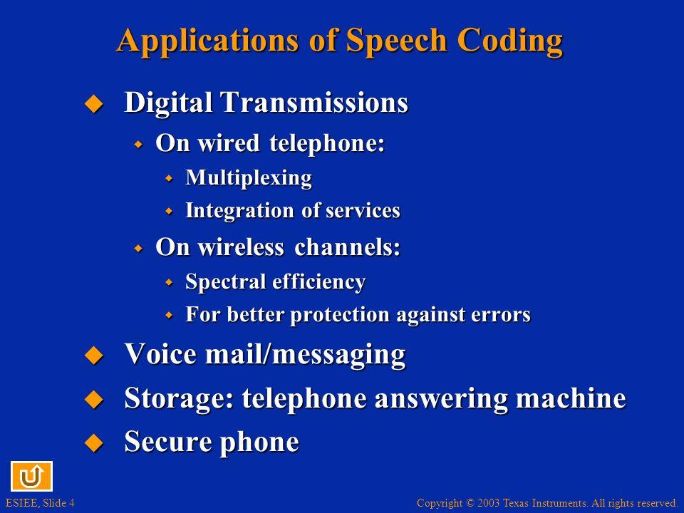 Applications of Speech Coding