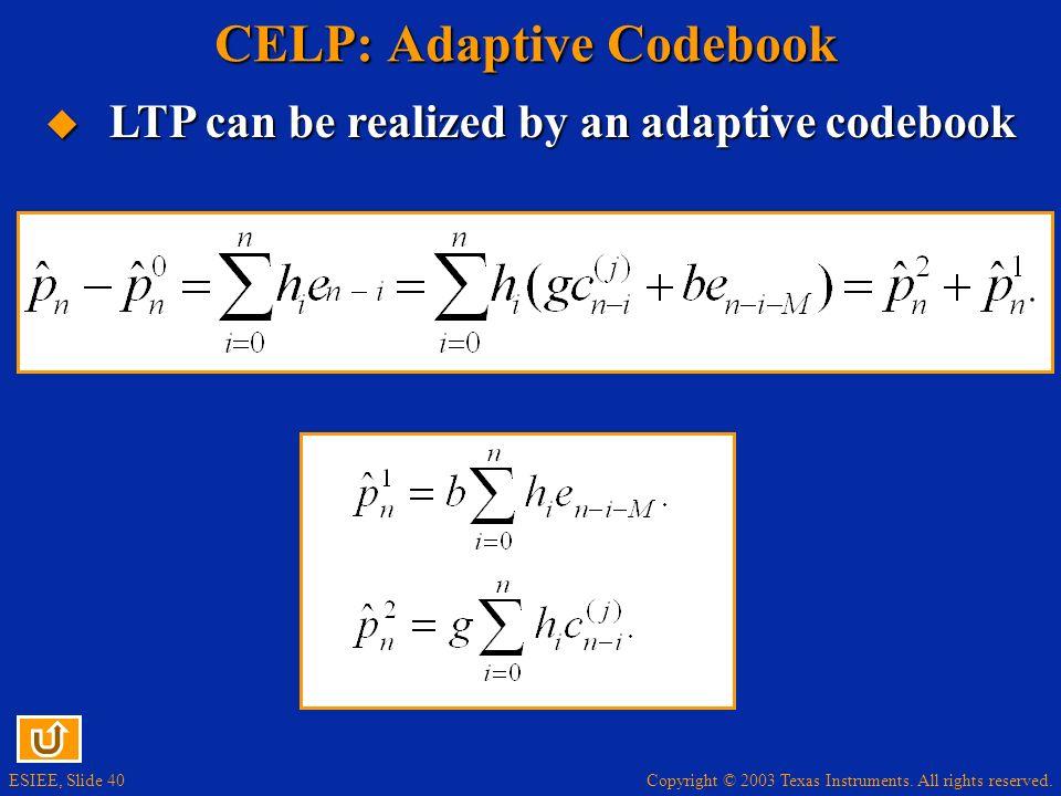 CELP: Adaptive Codebook