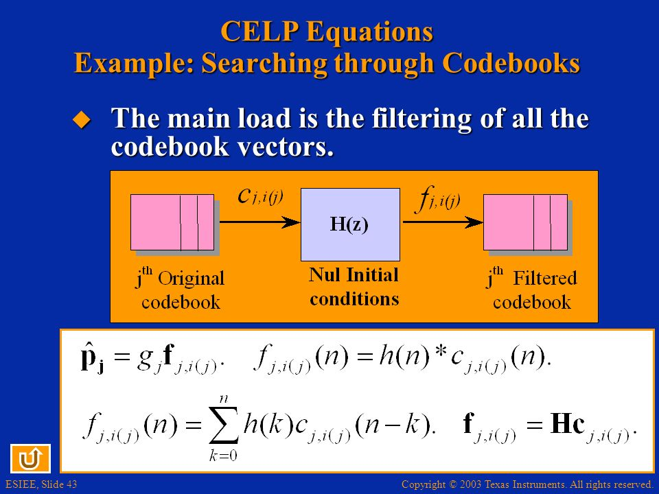 CELP Equations Example: Searching through Codebooks