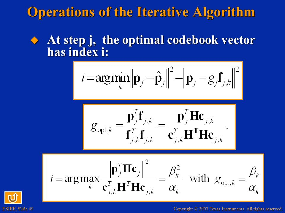 Operations of the Iterative Algorithm