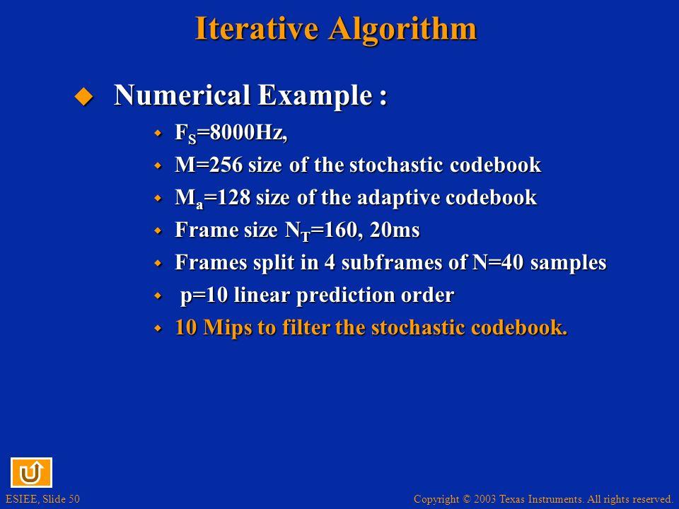 Iterative Algorithm Numerical Example : FS=8000Hz,