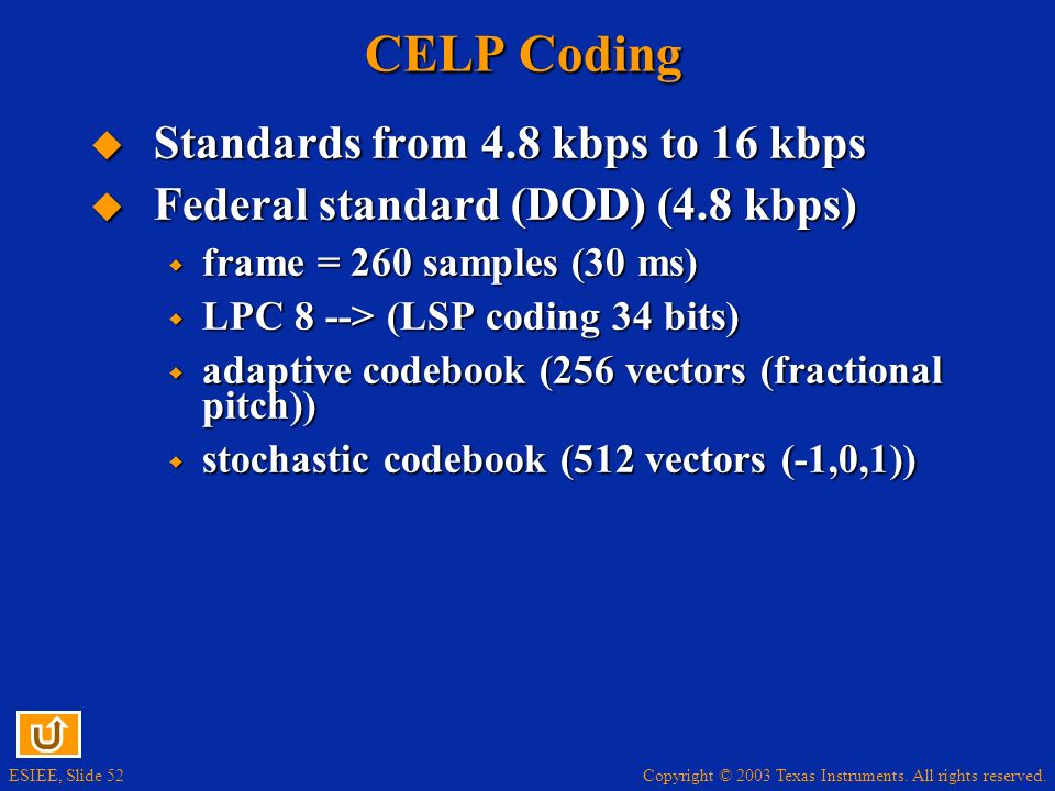 CELP Coding Standards from 4.8 kbps to 16 kbps