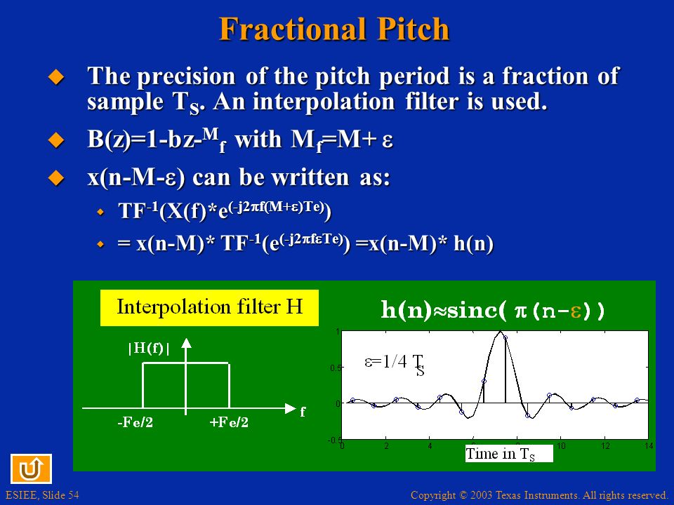 Fractional Pitch The precision of the pitch period is a fraction of sample TS. An interpolation filter is used.