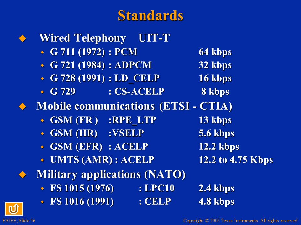 Standards Wired Telephony UIT-T Mobile communications (ETSI - CTIA)
