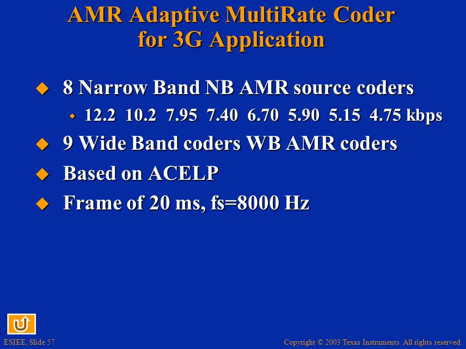 AMR Adaptive MultiRate Coder for 3G Application