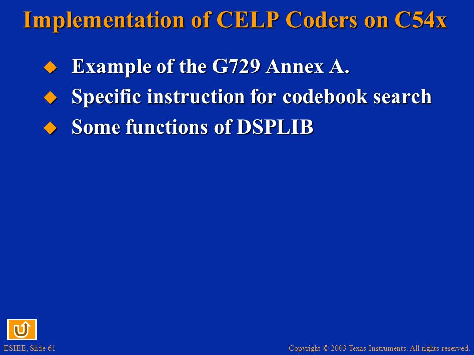 Implementation of CELP Coders on C54x