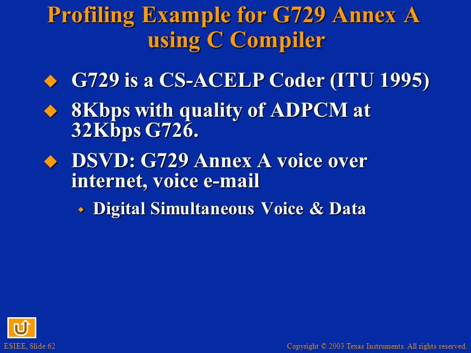 Profiling Example for G729 Annex A using C Compiler