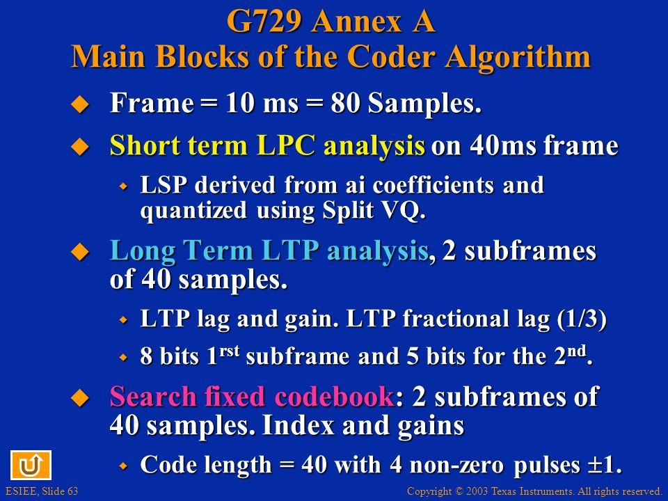G729 Annex A Main Blocks of the Coder Algorithm